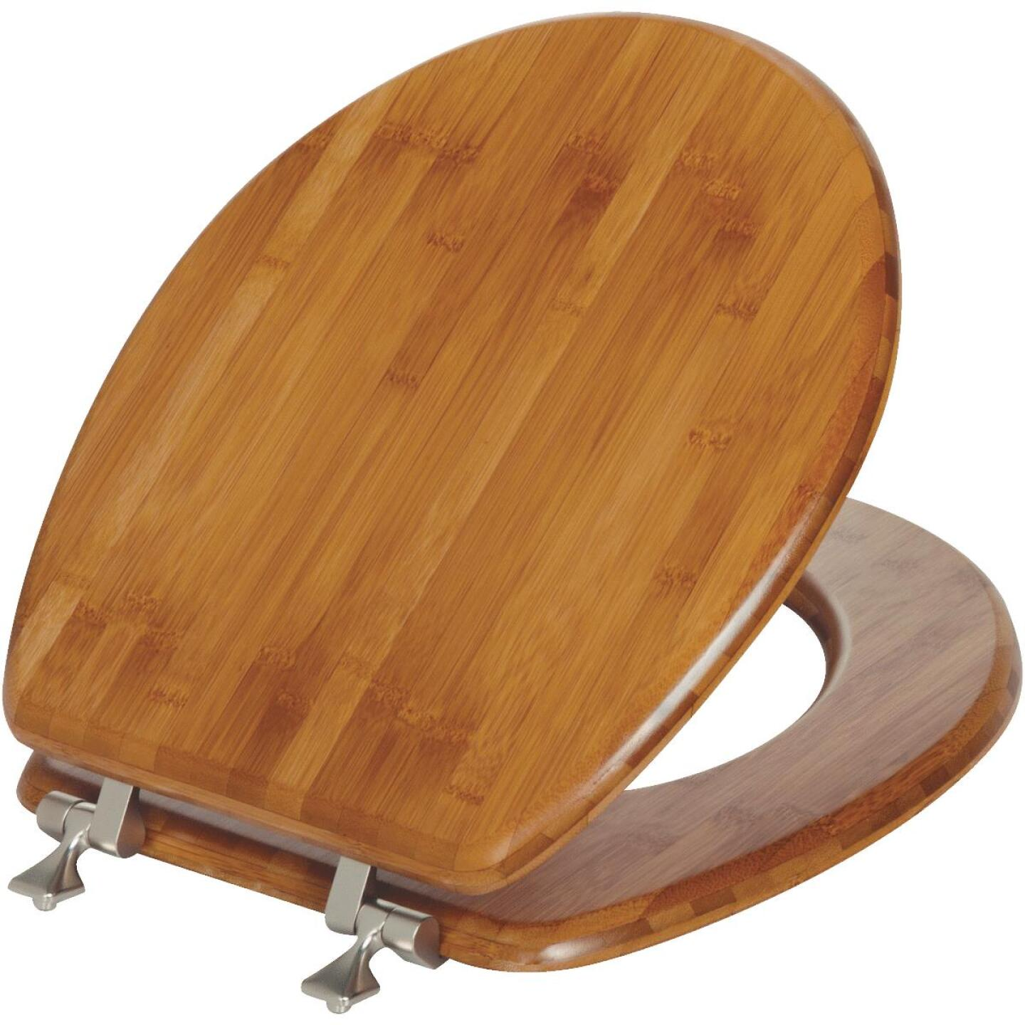 Mayfair Round Closed Front Bamboo Veneer Toilet Seat Image 1
