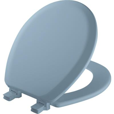 Mayfair Advantage Round Closed Front Blue Wood Toilet Seat