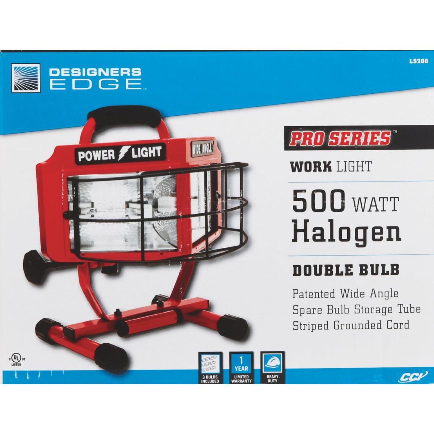 Designers Edge Power Light 8000 Lm. Halogen H-Stand Portable Work Light Image 3