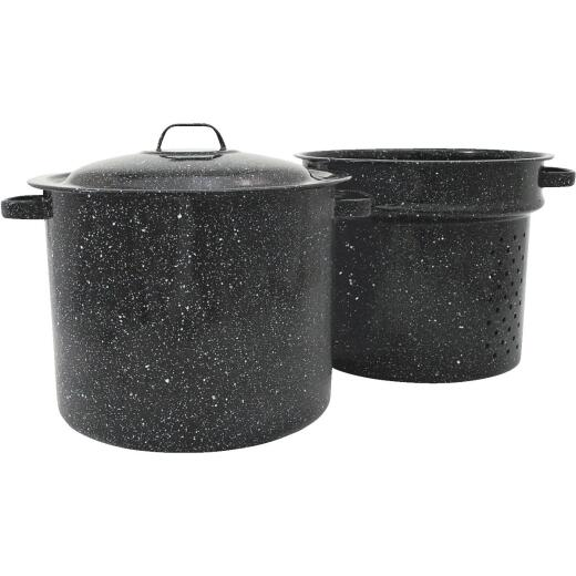 Columbian GraniteWare 33 Qt. Carbon Steel or Porcelain Black Stockpot