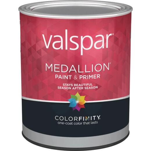 Valspar Medallion 100% Acrylic Paint & Primer Semi-Gloss Exterior House Paint, White, 1 Qt.